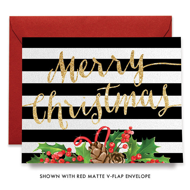 Striped Merry Christmas Greeting Card