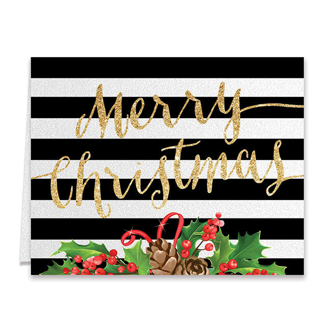 Gold Merry Christmas Boxed Holiday Cards