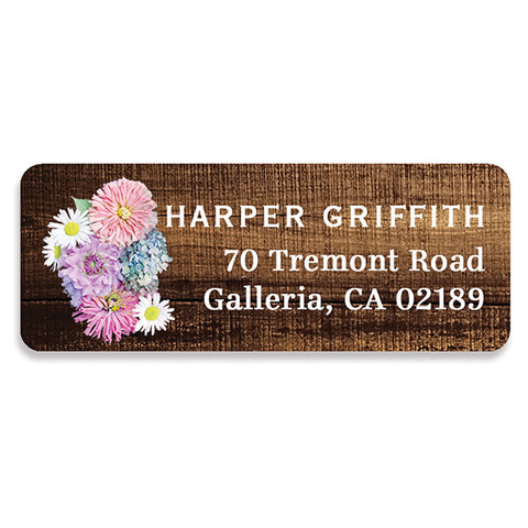 Wood + Floral Bloom Address Labels | Harper
