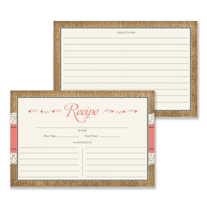 Lace Recipe Cards |  Hillary Coral Blue