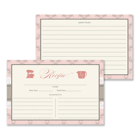 Lace Recipe Cards |  Hillary Pink Damask