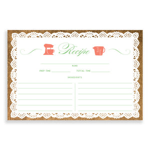 Lace Recipe Cards |  Jackie Coral Mint