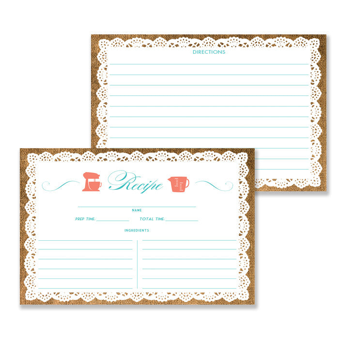 Lace Recipe Cards |  Jackie Coral Turquoise