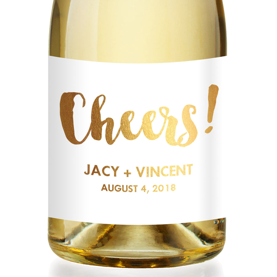"""Jacy"" Gold Foil Engagement Champagne Labels"