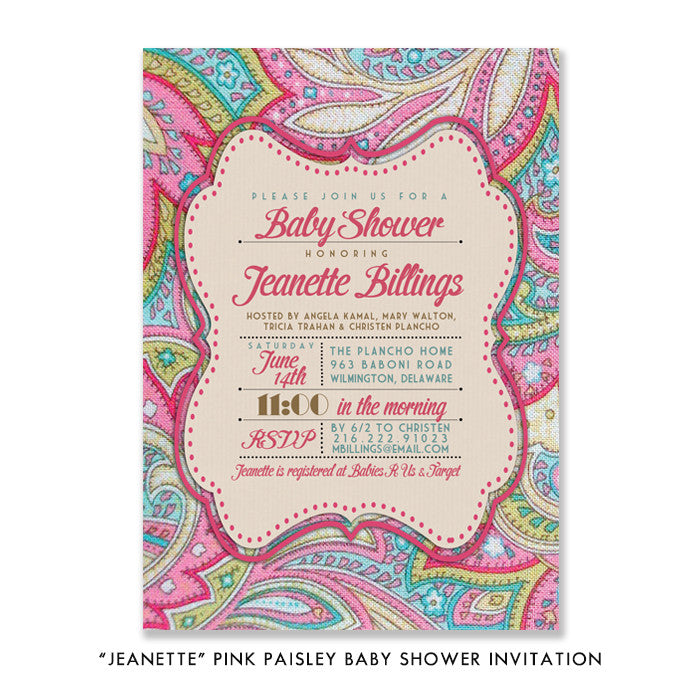 """Jeanette"" Pink Paisley Baby Shower Invitation"