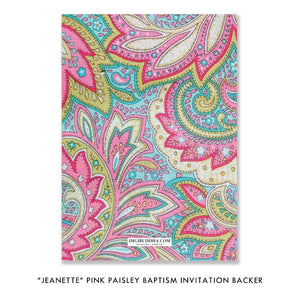 """Jeanette"" Pink Paisley Baptism Invitation"