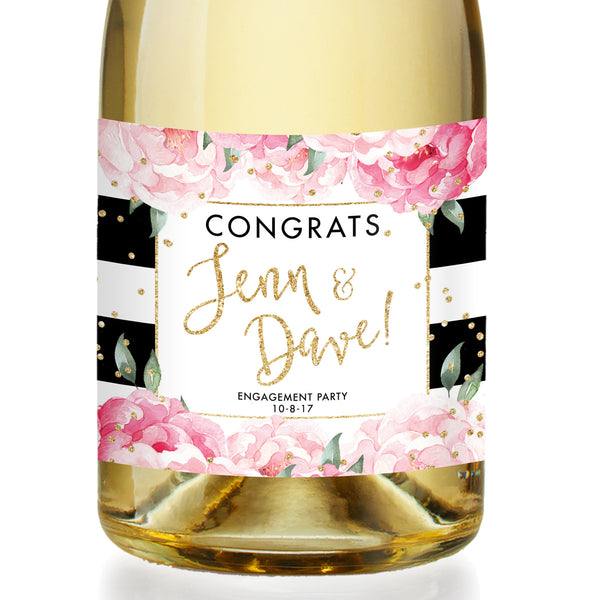 """Jenn"" Black Stripe Engagement Champagne Labels"