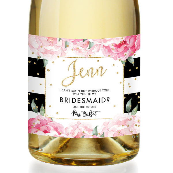 """Jenn"" Black Stripe Bridesmaid Proposal Champagne Labels"