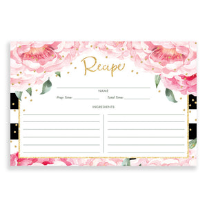 Black + Pink Peony Recipe Cards Gift Set  |  Jenn