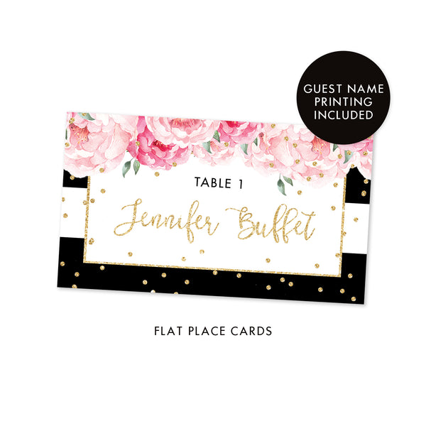 Black Stripe Place Cards With Floral Jenn Digibuddha