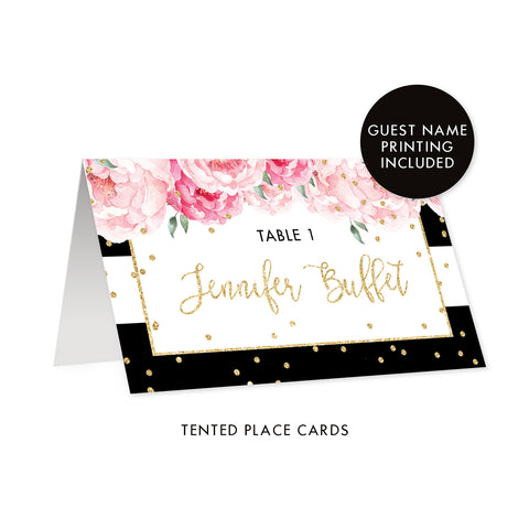 Black Stripe Place Cards with Floral | Jenn