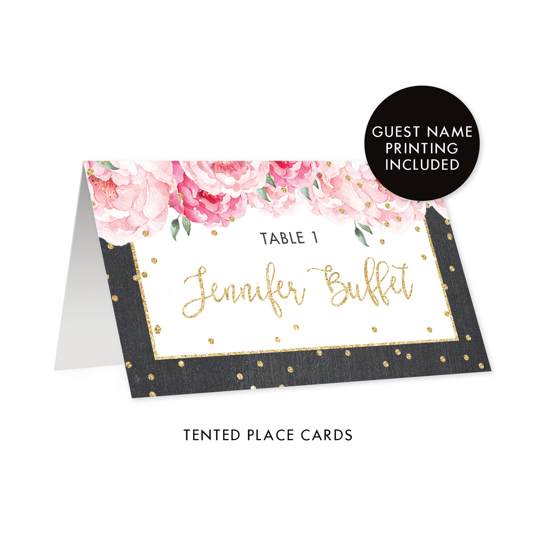 Chalkboard Place Cards with Floral | Jenn