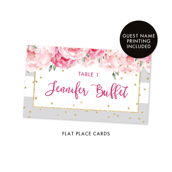 Gray Stripe Place Cards With Floral Jenn Digibuddha