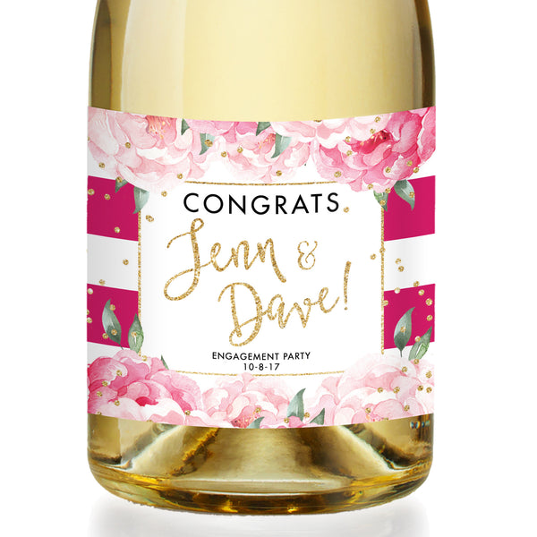 """Jenn"" Magenta Stripe Engagement Champagne Labels"