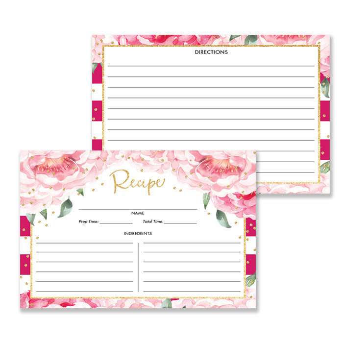 Magenta + Pink Peony Recipe Cards Gift Set  |  Jenn