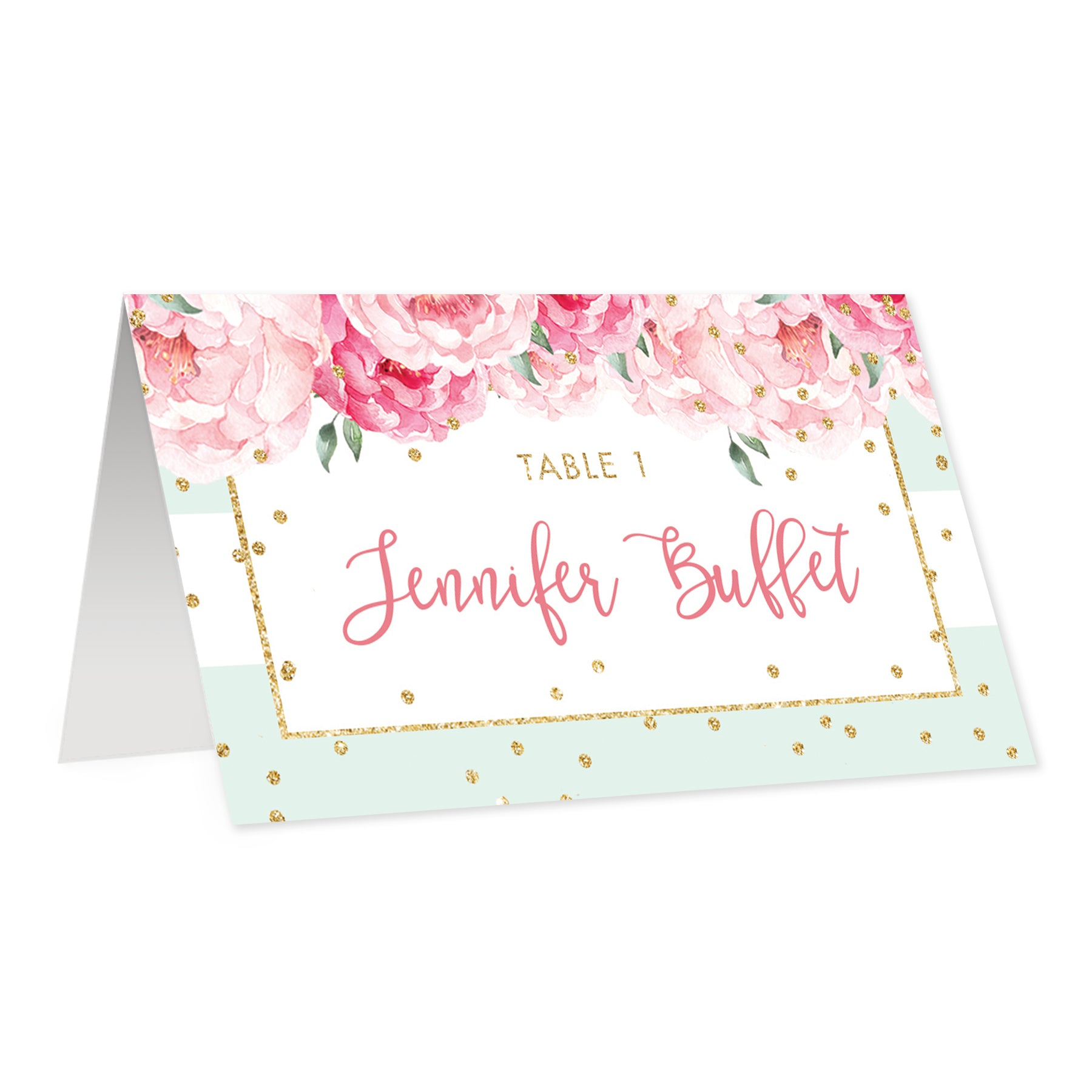 Mint Stripe Place Cards With Floral Jenn Digibuddha