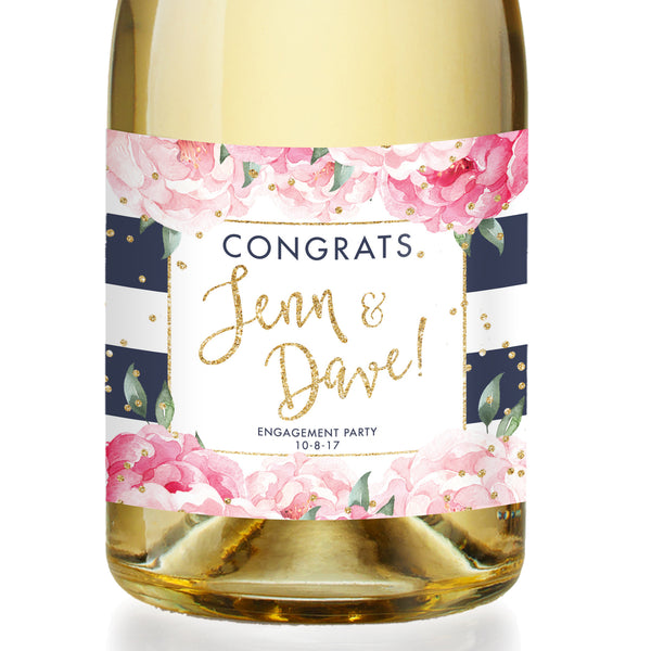 """Jenn"" Navy Stripe Engagement Champagne Labels"
