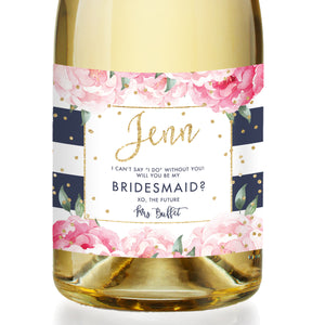 """Jenn"" Navy Stripe Bridesmaid Proposal Champagne Labels"