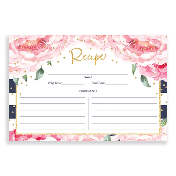 Navy + Pink Peony Recipe Cards Gift Set |  Jenn