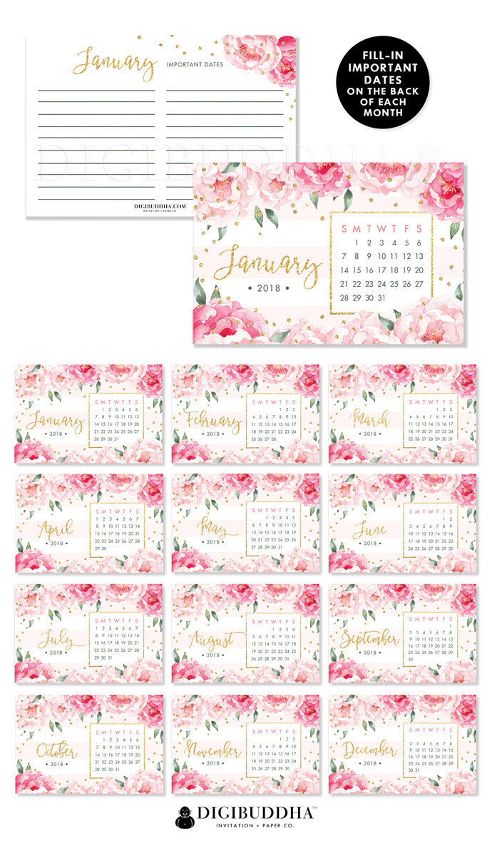 2018 Desk Calendar by Digibuddha | Jenn Pink