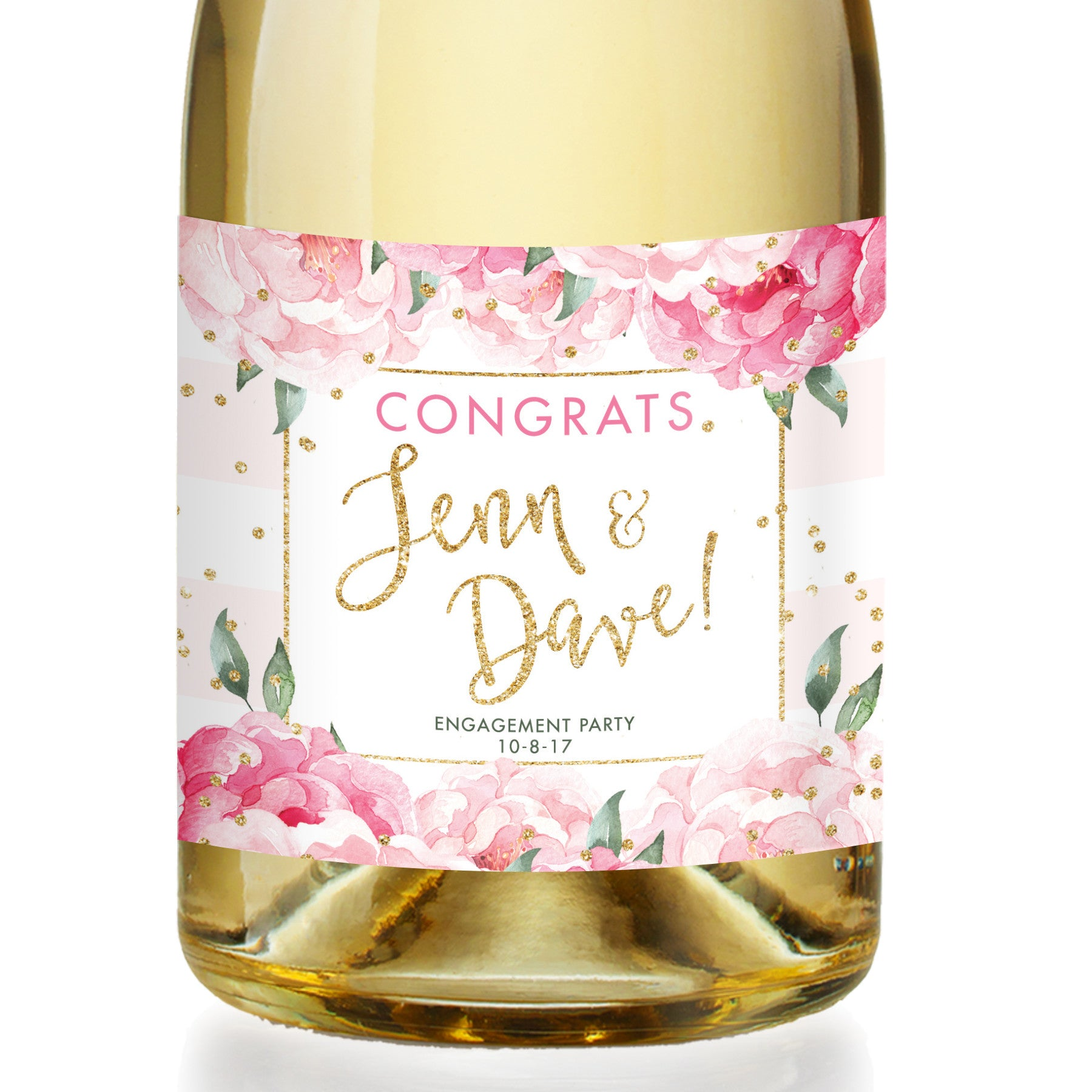 """Jenn"" Pink Stripe Engagement Champagne Labels"