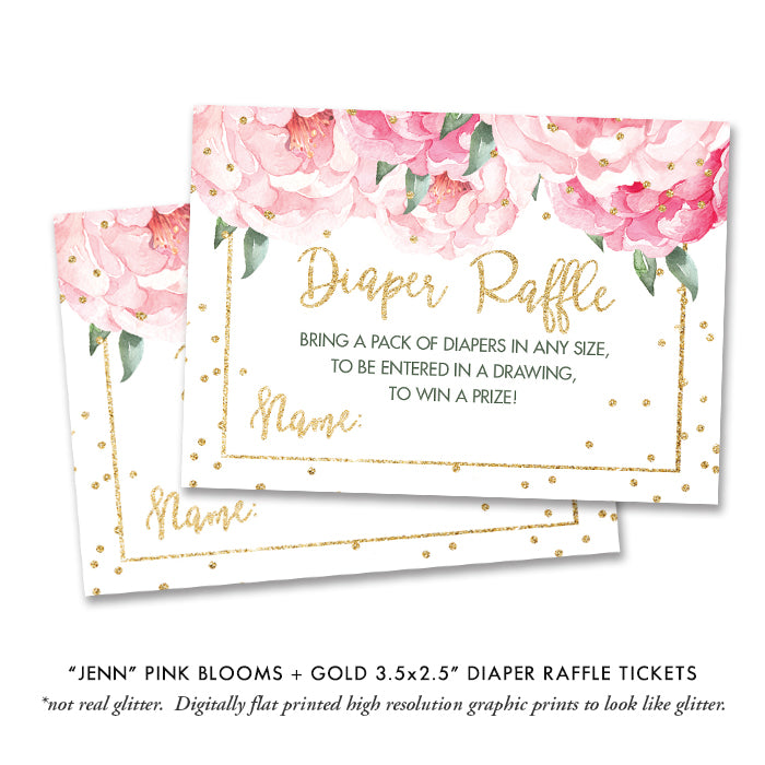"""Jenn"" Pink Blooms + Gold Baby Shower Invitation"