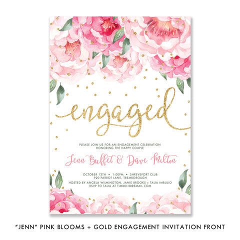 """Jenn"" Pink Blooms + Gold Engagement Party Invitation"