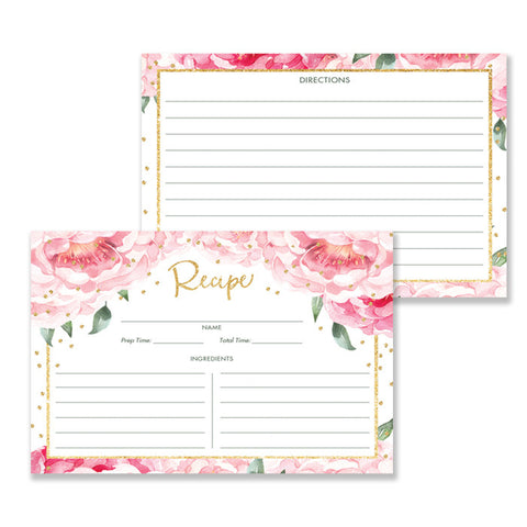 Pink Peony Recipe Cards Gift Set |  Jenn