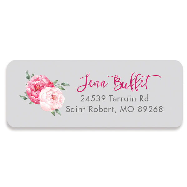 Peony Pink and Gray Address Labels | Jenn