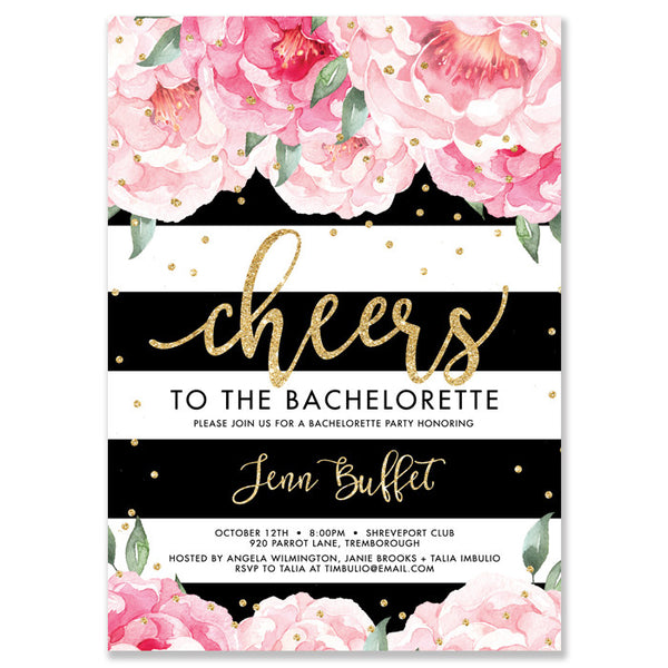 """Jenn"" Peonies + Black Stripe Bachelorette Invitation"