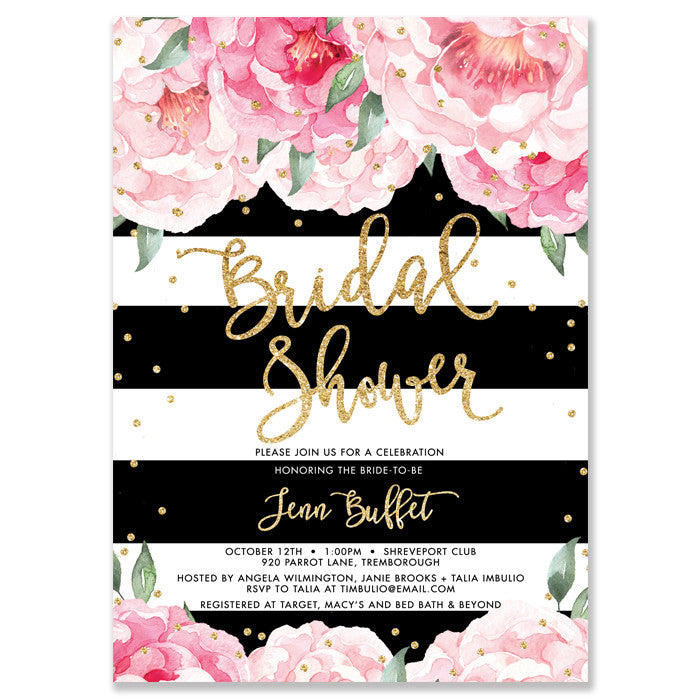 jenn peonies black stripe bridal shower invitation