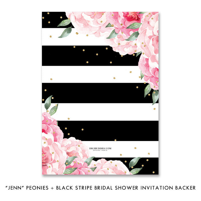 """Jenn"" Peonies + Black Stripe Bridal Shower Invitation"