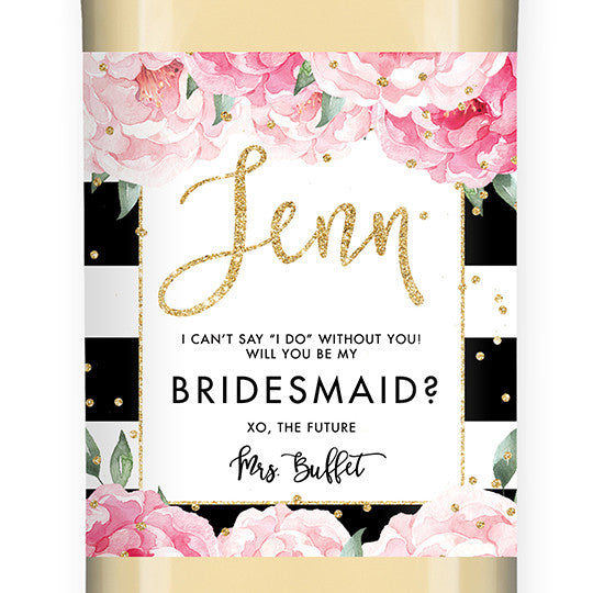 """Jenn"" Peony + Black Stripe Bridesmaid Proposal Wine Labels"