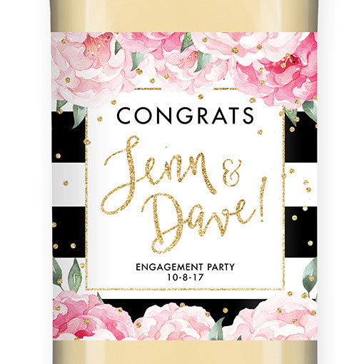"""Jenn"" Peony + Black Stripe Engagement Wine Label"