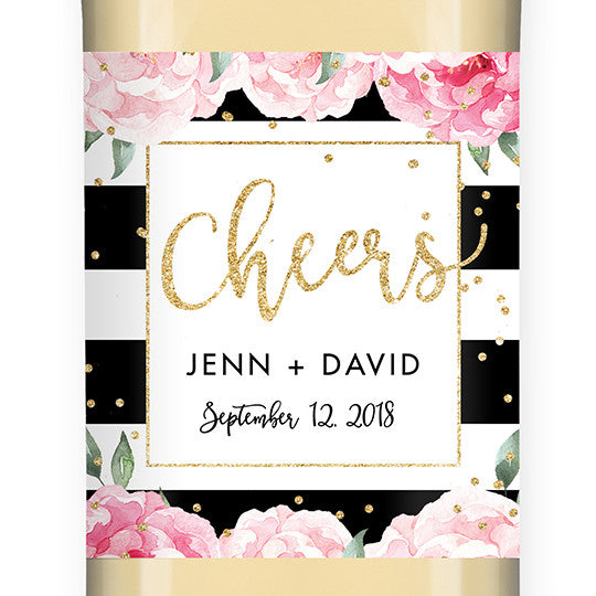 """Jenn"" Peony + Black Stripe Wedding Wine Label"