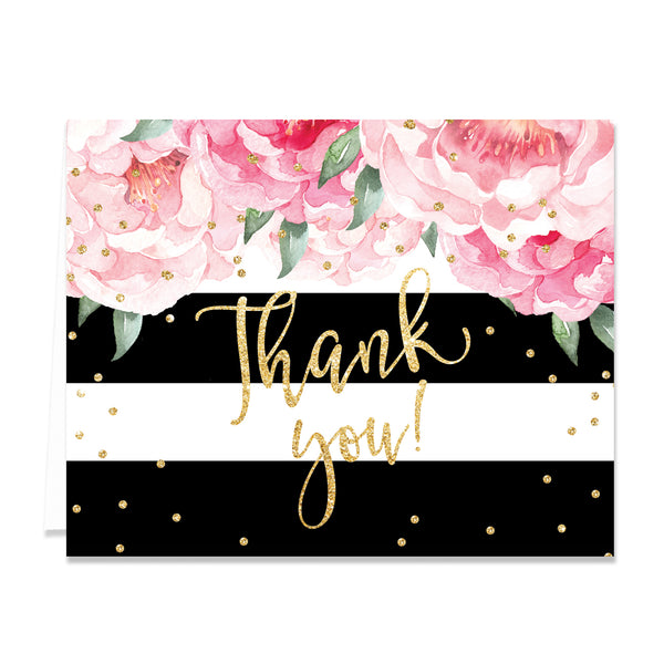 """Jenn"" Peonies + Black Stripe Thank You Card"