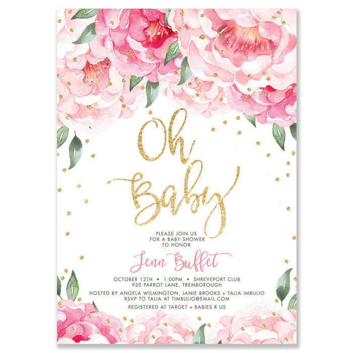 Pink peonies baby shower invitation gold glitter confetti digibuddha jenn pink blooms gold baby shower invitation filmwisefo