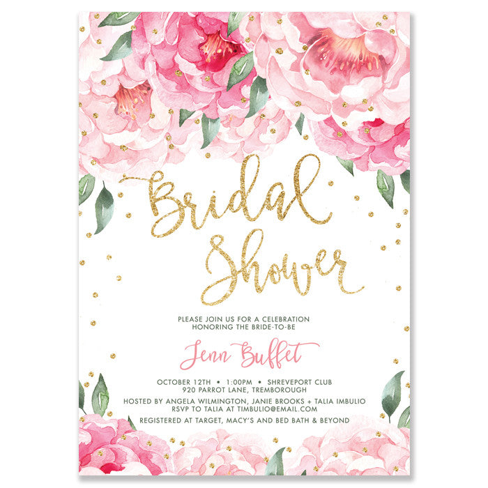 """Jenn"" Pink Blooms + Gold Bridal Shower Invitation"