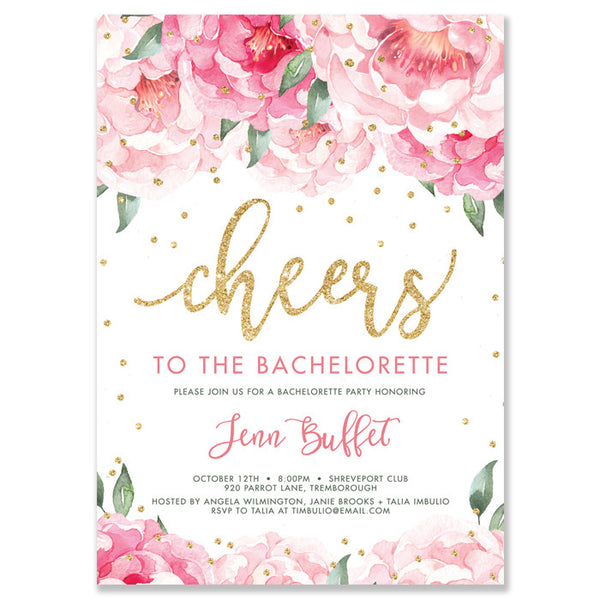 """Jenn"" Pink Blooms + Gold Bachelorette Invitation"