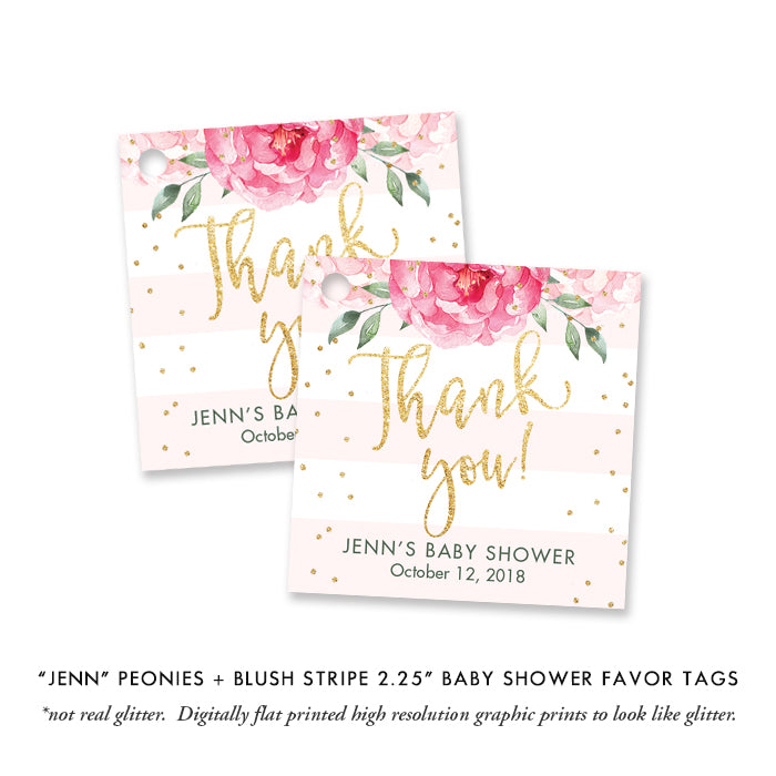 """Jenn"" Peonies + Blush Stripe Baby Shower Invitation"