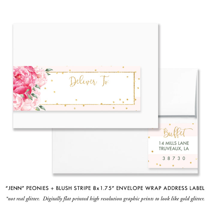 """Jenn"" Peonies + Blush Stripe Engagement Party Invitation"