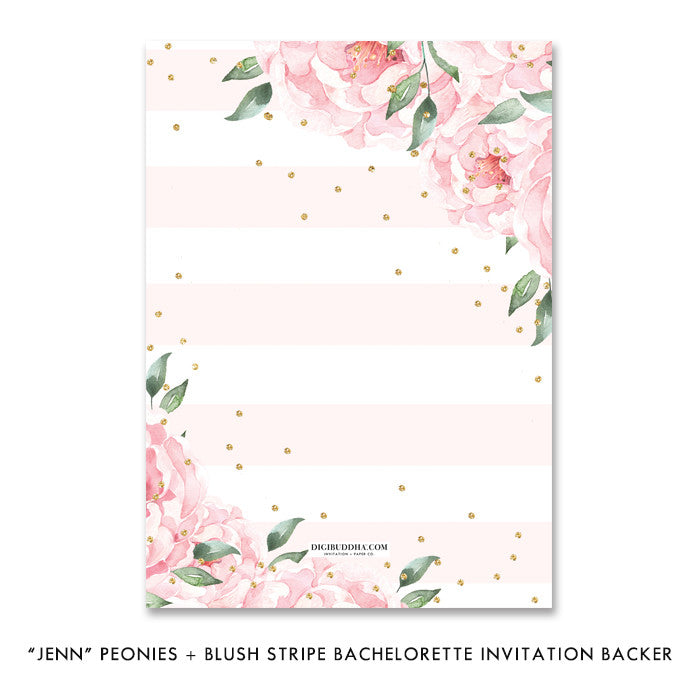 """Jenn"" Peonies + Blush Stripe Bachelorette Invitation"