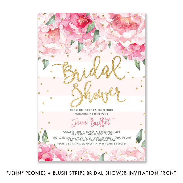 """Jenn"" Peonies + Blush Stripe Bridal Shower Invitation"