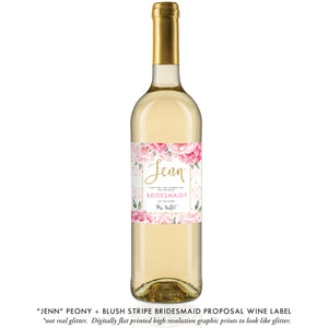 """Jenn"" Peony + Blush Stripe Bridesmaid Proposal Wine Labels"