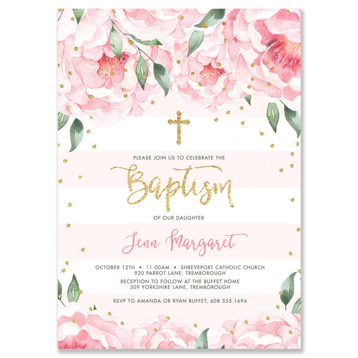 """Jenn"" Peonies + Blush Stripe Baptism Invitation"