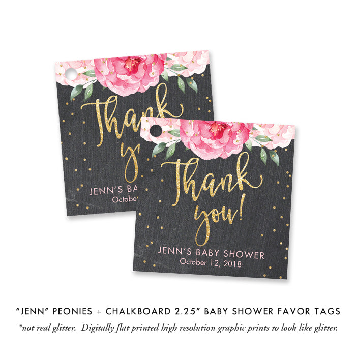 """Jenn"" Pink Blooms + Chalkboard Baby Shower Invitation"
