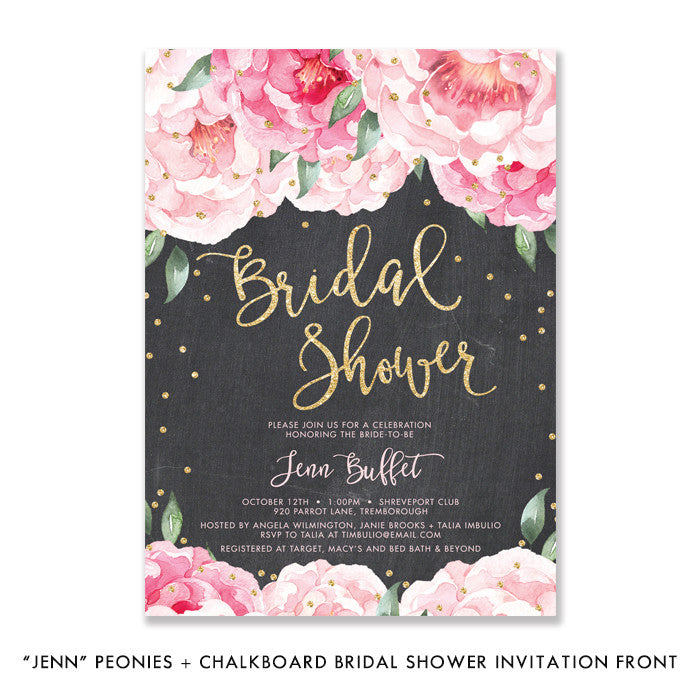 """Jenn"" Pink Blooms + Chalkboard Bridal Shower Invitation"
