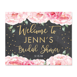 """Jenn"" Peonies + Chalkboard Bridal Shower Welcome Sign"
