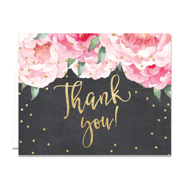 """Jenn"" Peonies + Chalkboard Thank You Card"