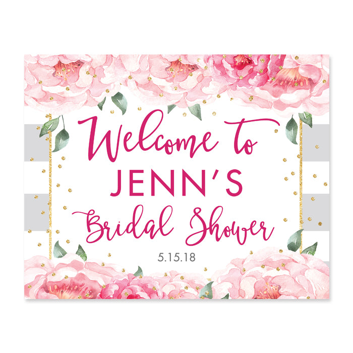 """Jenn"" Peonies + Gray Stripe Bridal Shower Welcome Sign"